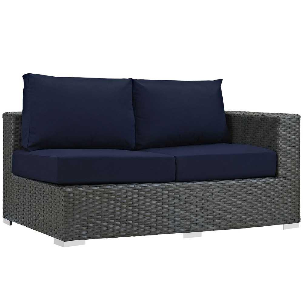Modway Sojourn Outdoor Patio Sunbrella Right Arm Loveseat - Canvas Navy