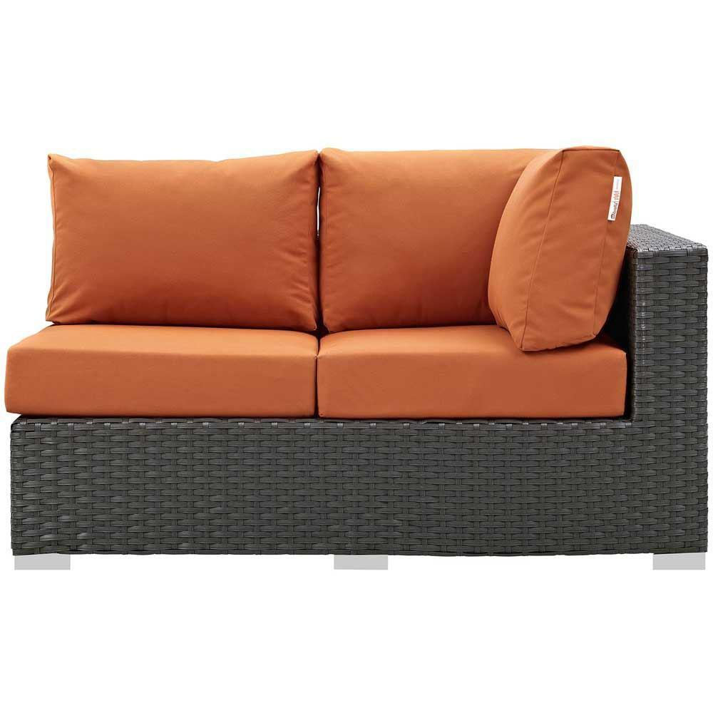 Modway Sojourn Outdoor Patio Sunbrella Right Arm Loveseat - Canvas Tuscan