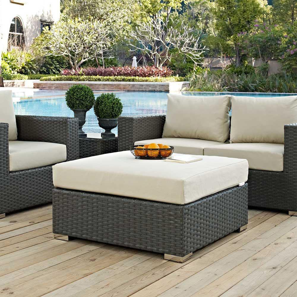 Modway Sojourn Outdoor Patio Sunbrella Square Ottoman - Canvas Antique Beige