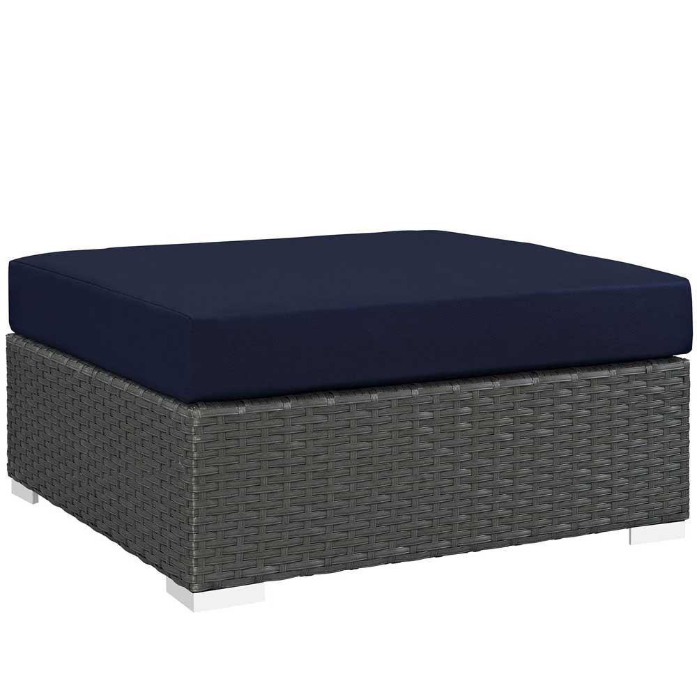 Modway Sojourn Outdoor Patio Sunbrella Square Ottoman - Canvas Navy