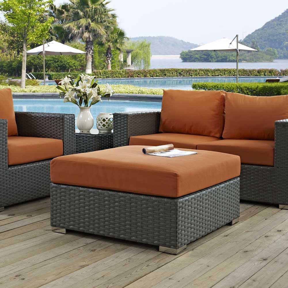 Modway Sojourn Outdoor Patio Sunbrella Square Ottoman - Canvas Tuscan