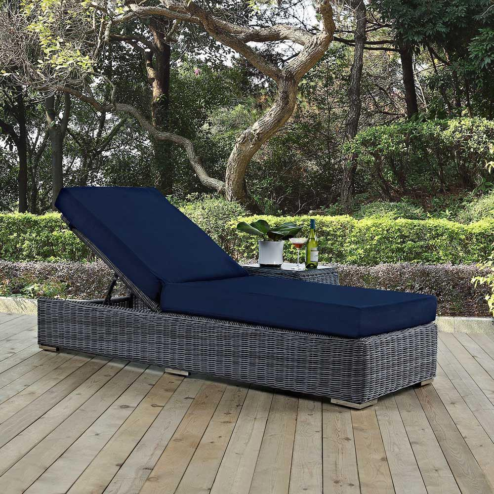 Modway Summon Outdoor Patio Sunbrella Chaise Lounge - Canvas Navy