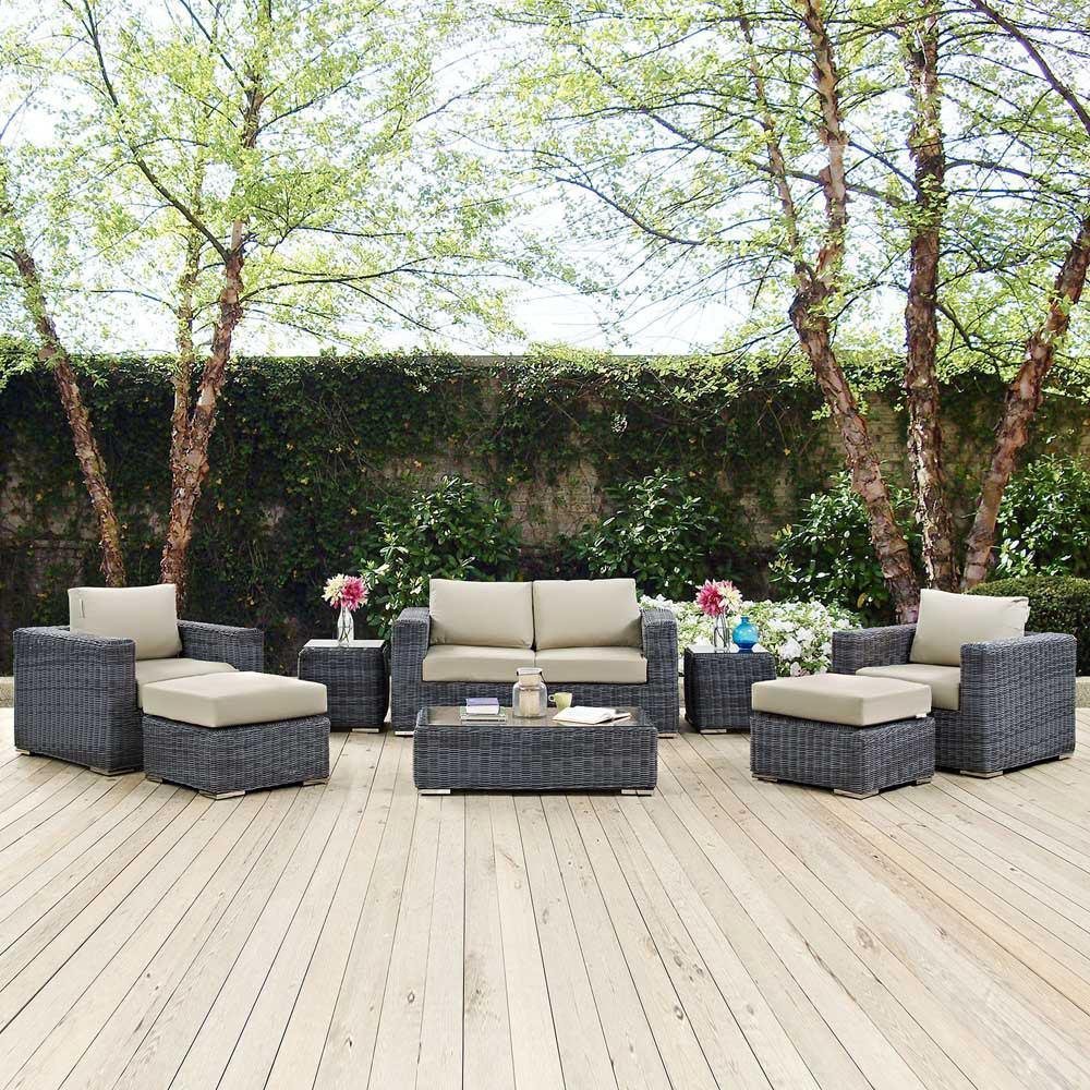Modway Summon 8 Piece Outdoor Patio Sunbrella Sectional Set - Canvas Antique Beige