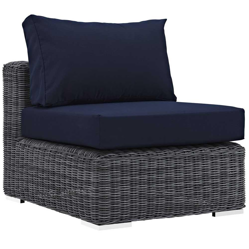 Modway Summon 5 Piece Outdoor Patio Sunbrella Sectional Set - Canvas Navy