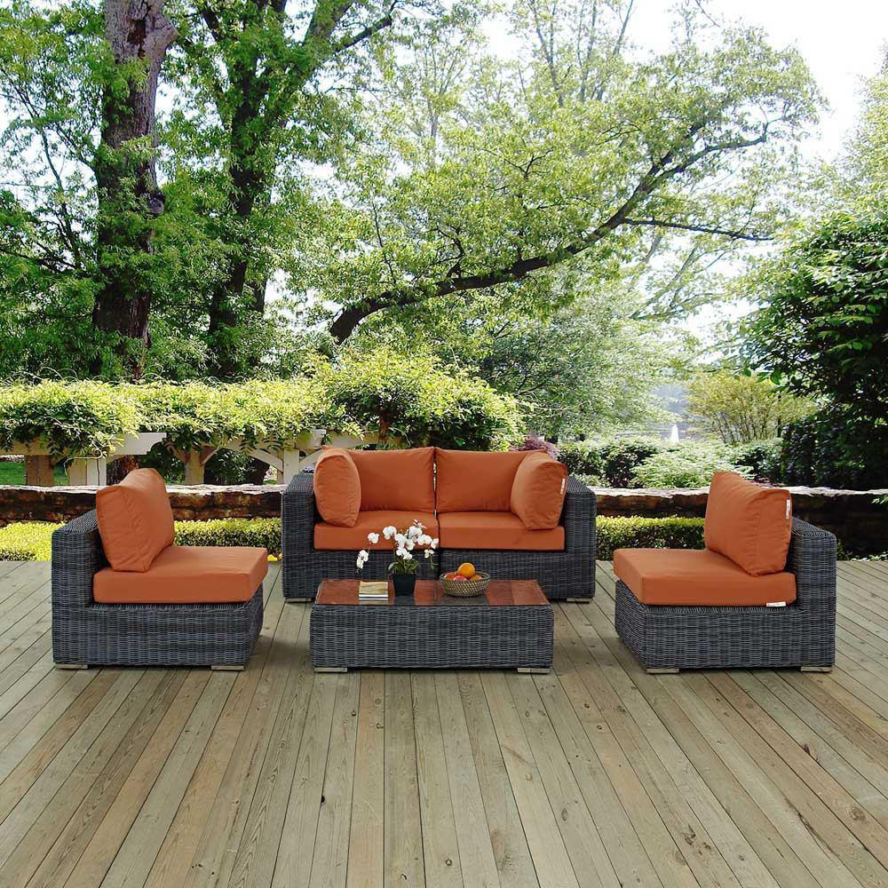 Modway Summon 5 Piece Outdoor Patio Sunbrella Sectional Set - Canvas Tuscan
