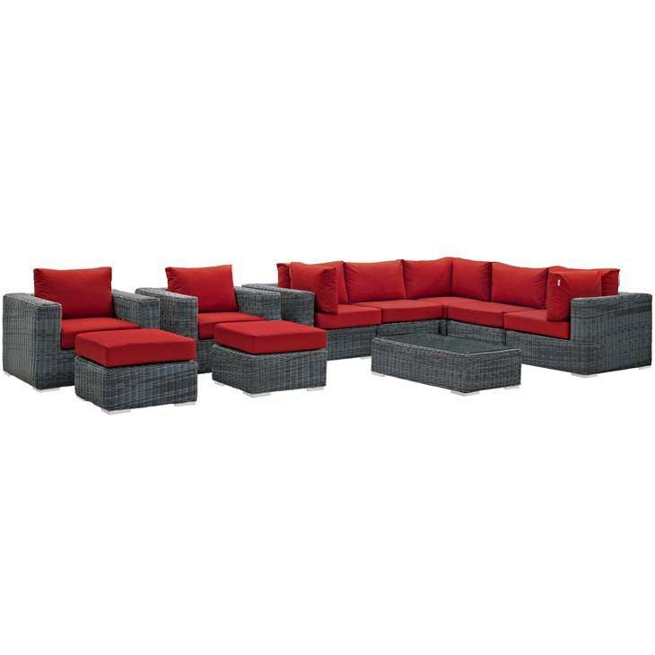 Modway Summon 10 Piece Outdoor Patio Sectional Set