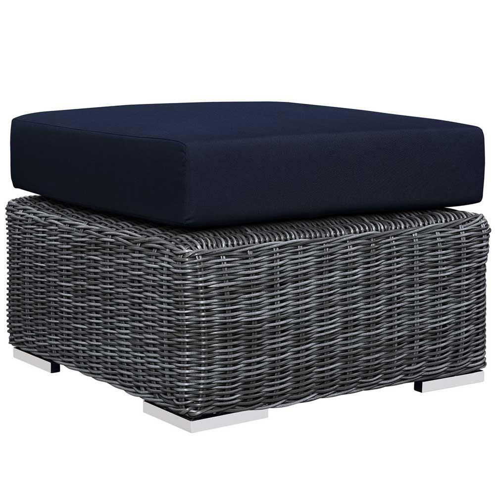 Modway Summon 3 Piece Outdoor Patio Sunbrella Sectional Set - Canvas Navy
