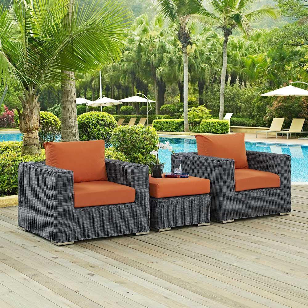 Modway Summon 3 Piece Outdoor Patio Sunbrella Sectional Set - Canvas Tuscan
