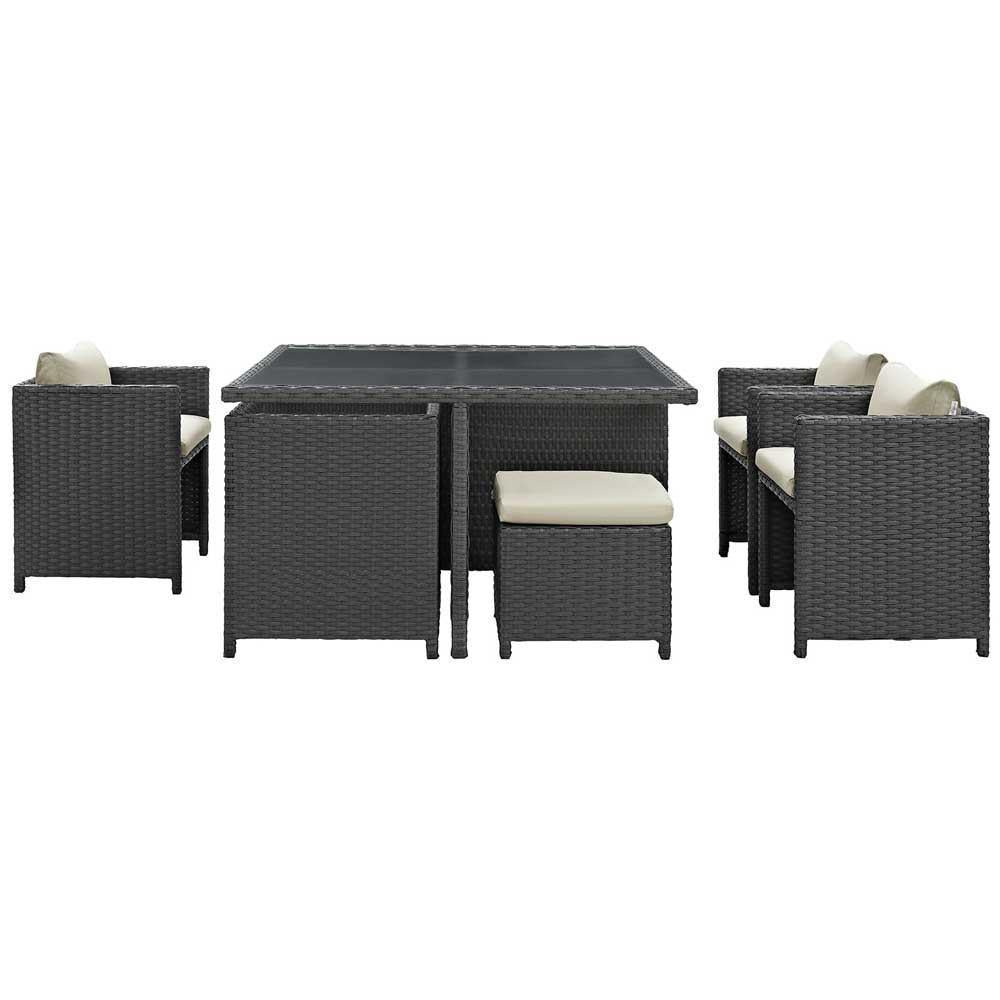 Modway Sojourn 9 Piece Outdoor Patio Sunbrella Dining Set - Antique Canvas Beige