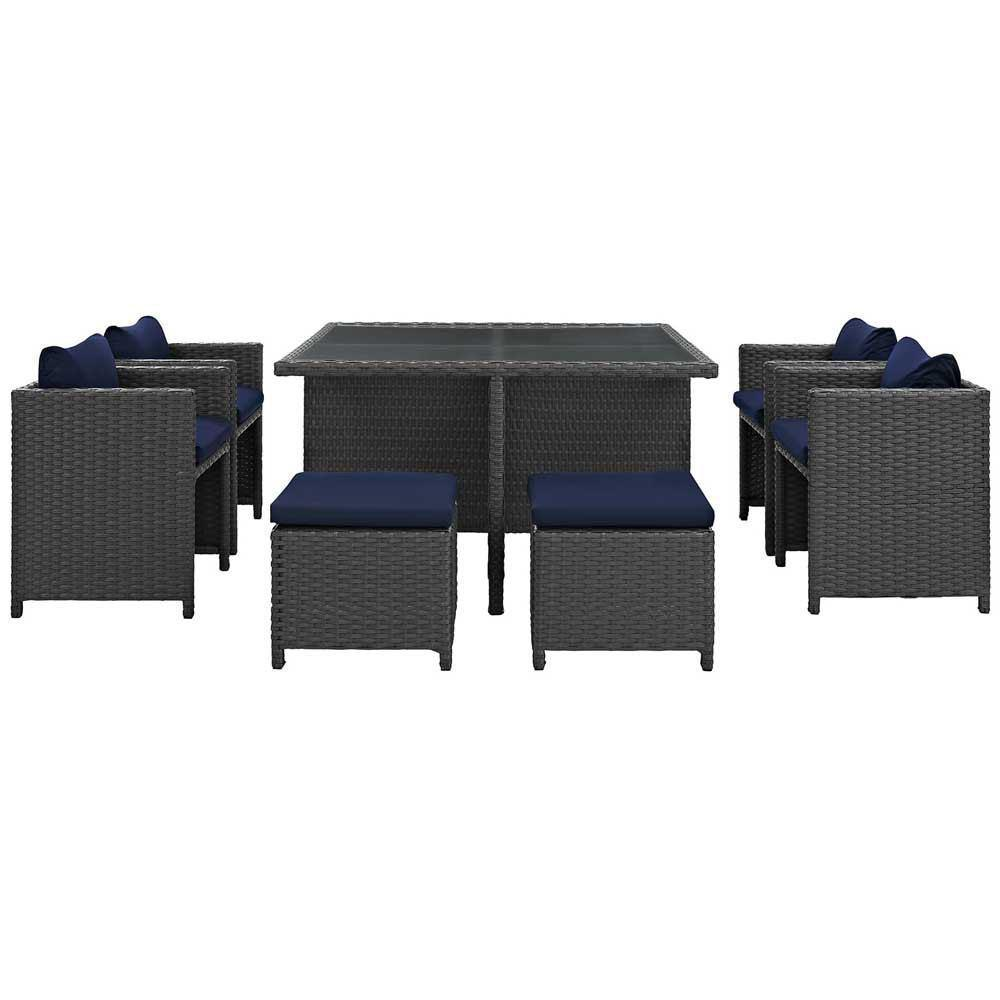 Modway Sojourn 9 Piece Outdoor Patio Sunbrella Dining Set - Canvas Navy