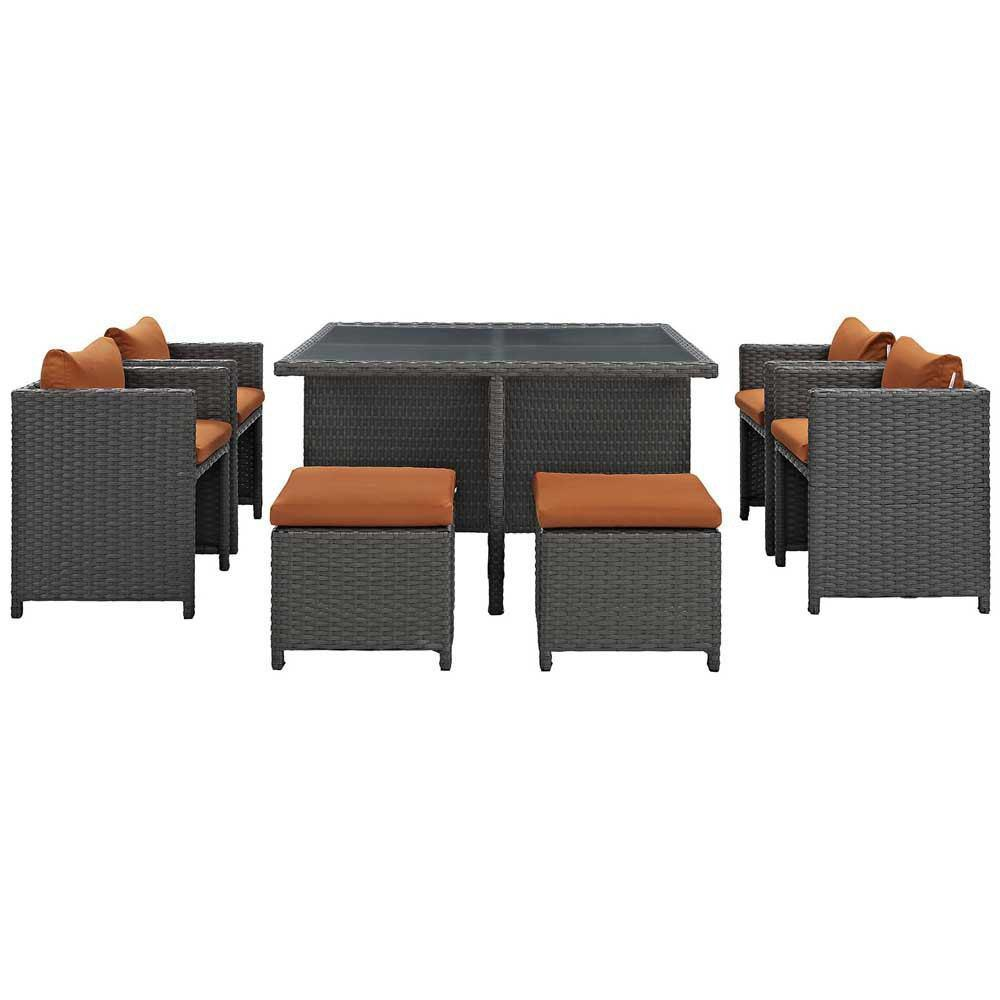 Modway Sojourn 9 Piece Outdoor Patio Sunbrella Dining Set - Canvas Tuscan