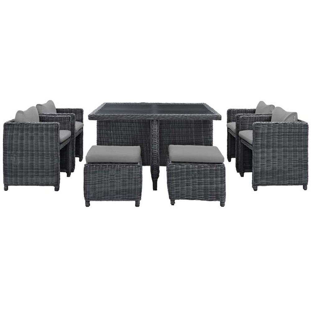 Modway Summon 9 Piece Outdoor Patio Dining Set