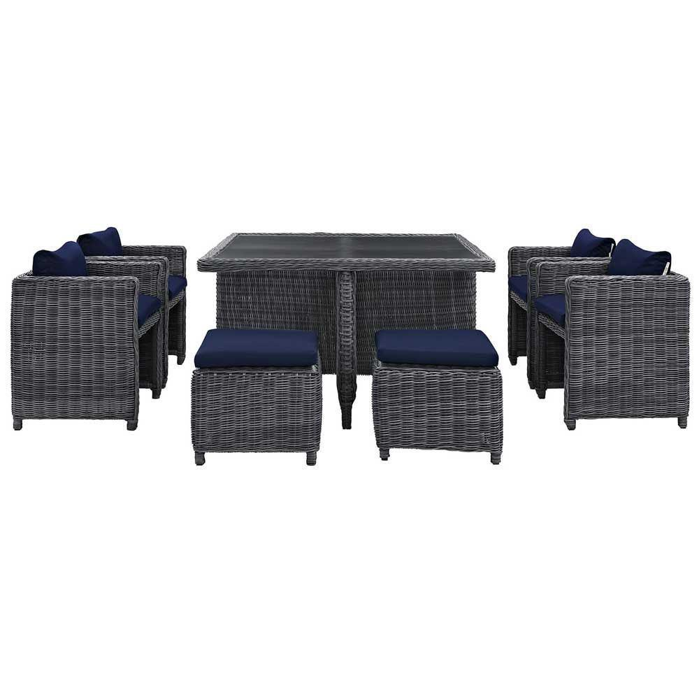 Modway Summon 9 Piece Outdoor Patio Sunbrella Dining Set - Canvas Navy