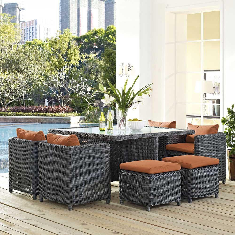 Modway Summon 9 Piece Outdoor Patio Sunbrella Dining Set - Canvas Tuscan