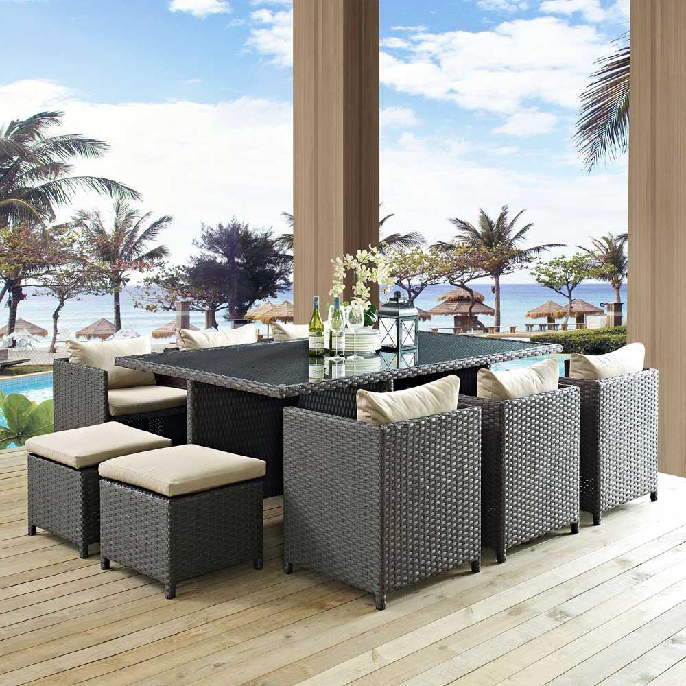Modway Sojourn 11 Piece Outdoor Patio Sunbrella Dining Set - Antique Canvas Beige