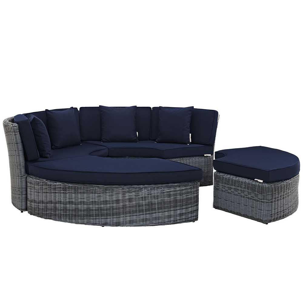 Modway Summon Circular Outdoor Patio Sunbrella Daybed - Canvas Navy