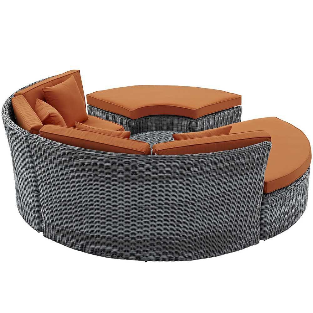 Modway Summon Circular Outdoor Patio Sunbrella Daybed - Canvas Tuscan
