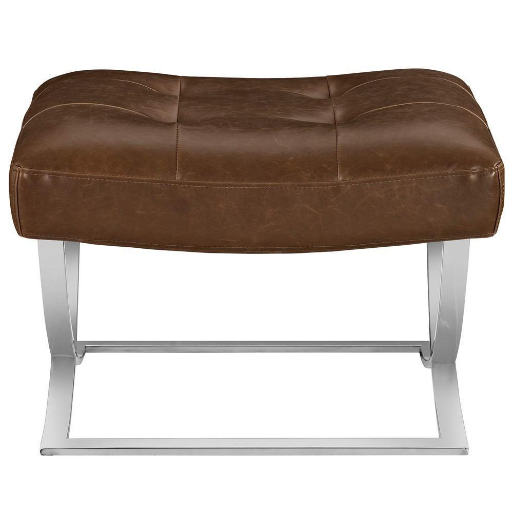 Modway Slope Upholstered Vinyl Ottoman - Brown