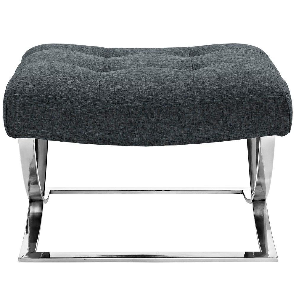 Modway Slope Upholstered Fabric Ottoman - Gray