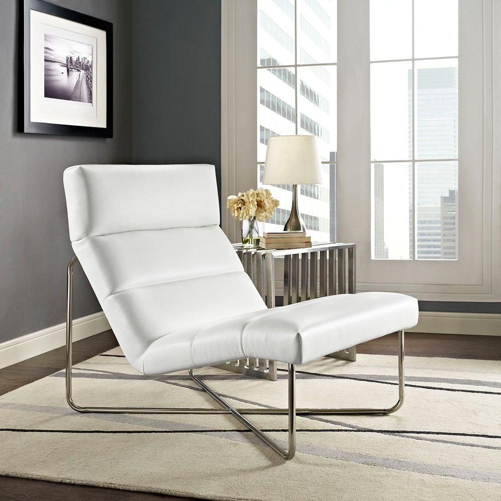 Modway Reach Upholstered Vinyl Lounge Chair - White