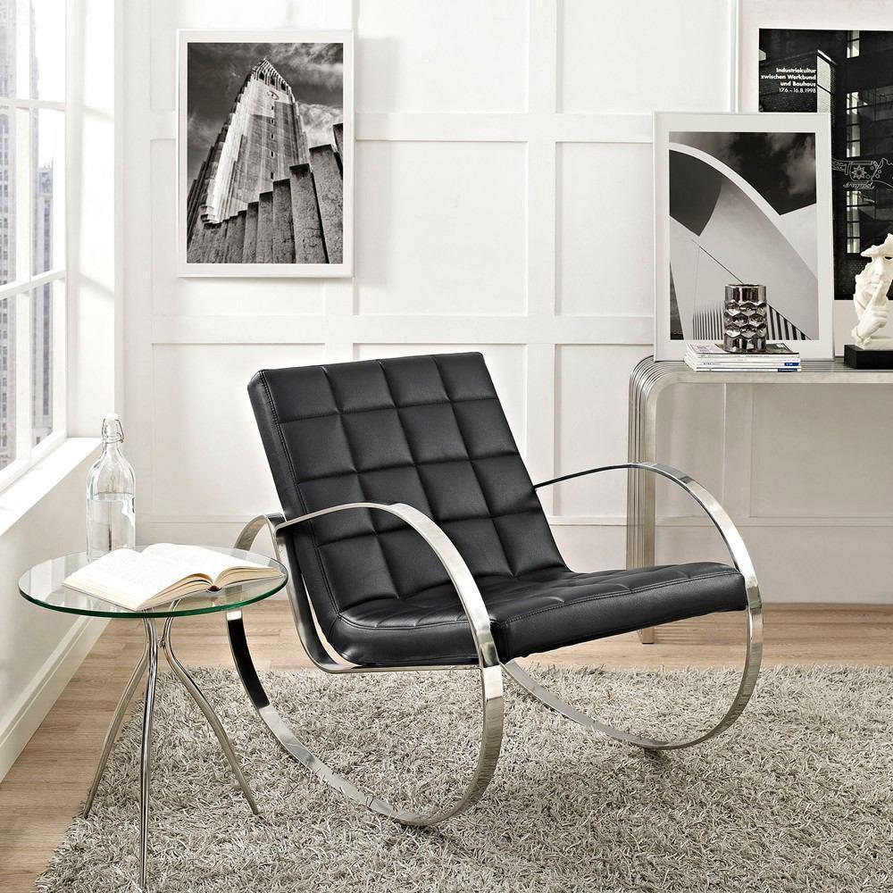 Modway Gravitas Upholstered Vinyl Lounge Chair - Black