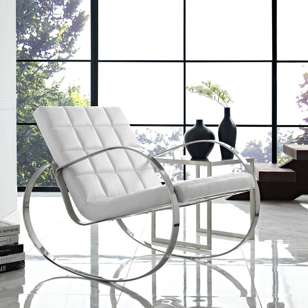 Modway Gravitas Upholstered Vinyl Lounge Chair - White