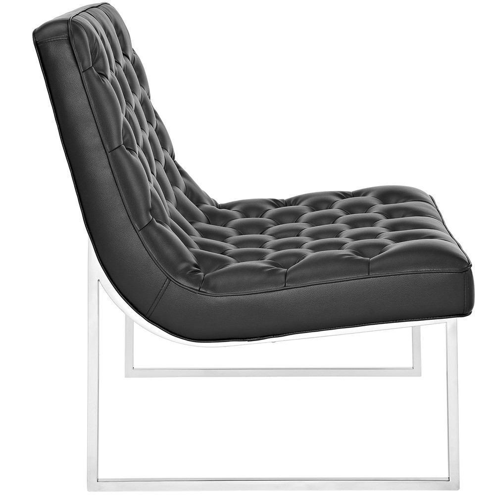 Modway Ibiza Upholstered Vinyl Lounge Chair - Black