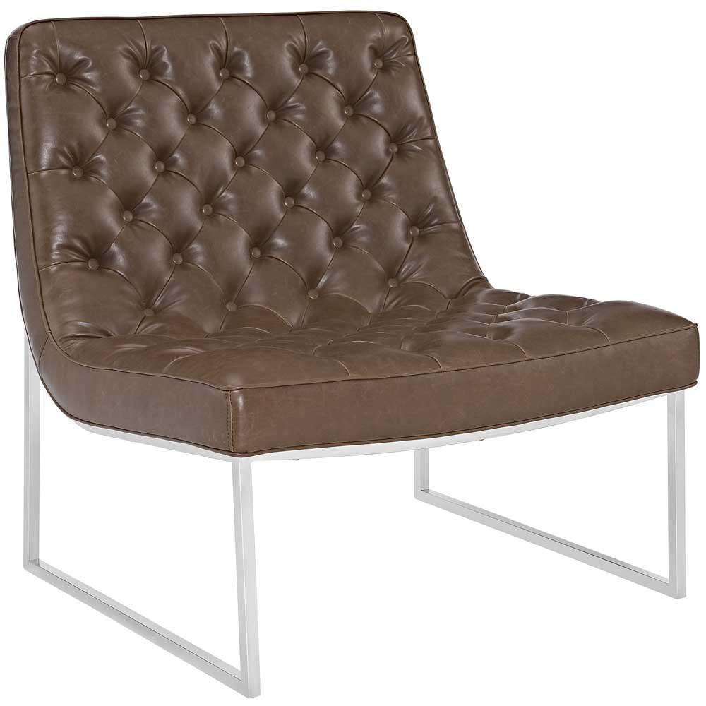 Modway Ibiza Upholstered Vinyl Lounge Chair - Brown