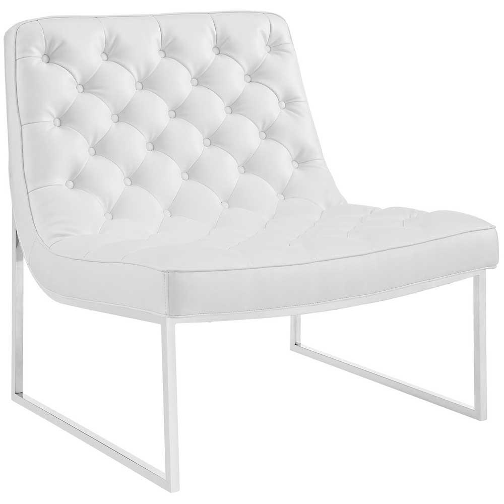 Modway Ibiza Upholstered Vinyl Lounge Chair - White