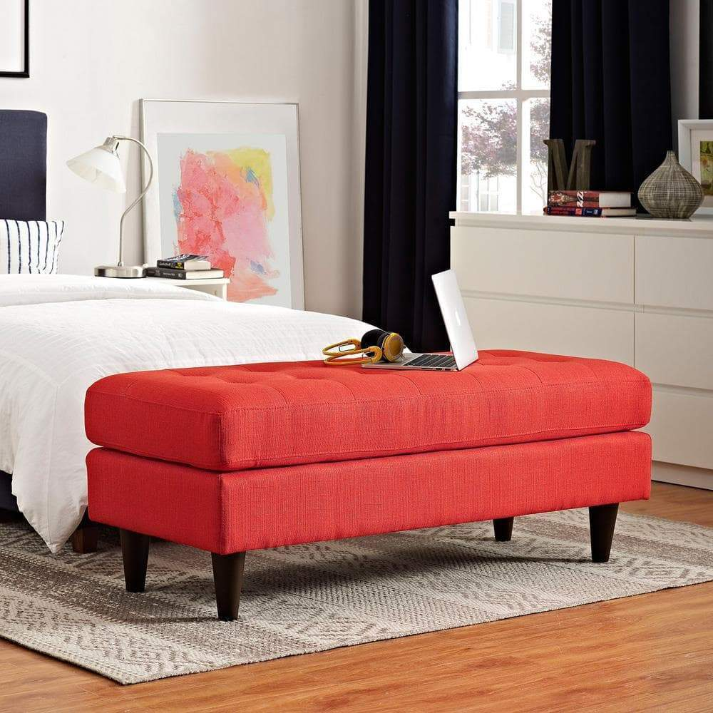 Modway Empress Upholstered Fabric Bench - Atomic Red