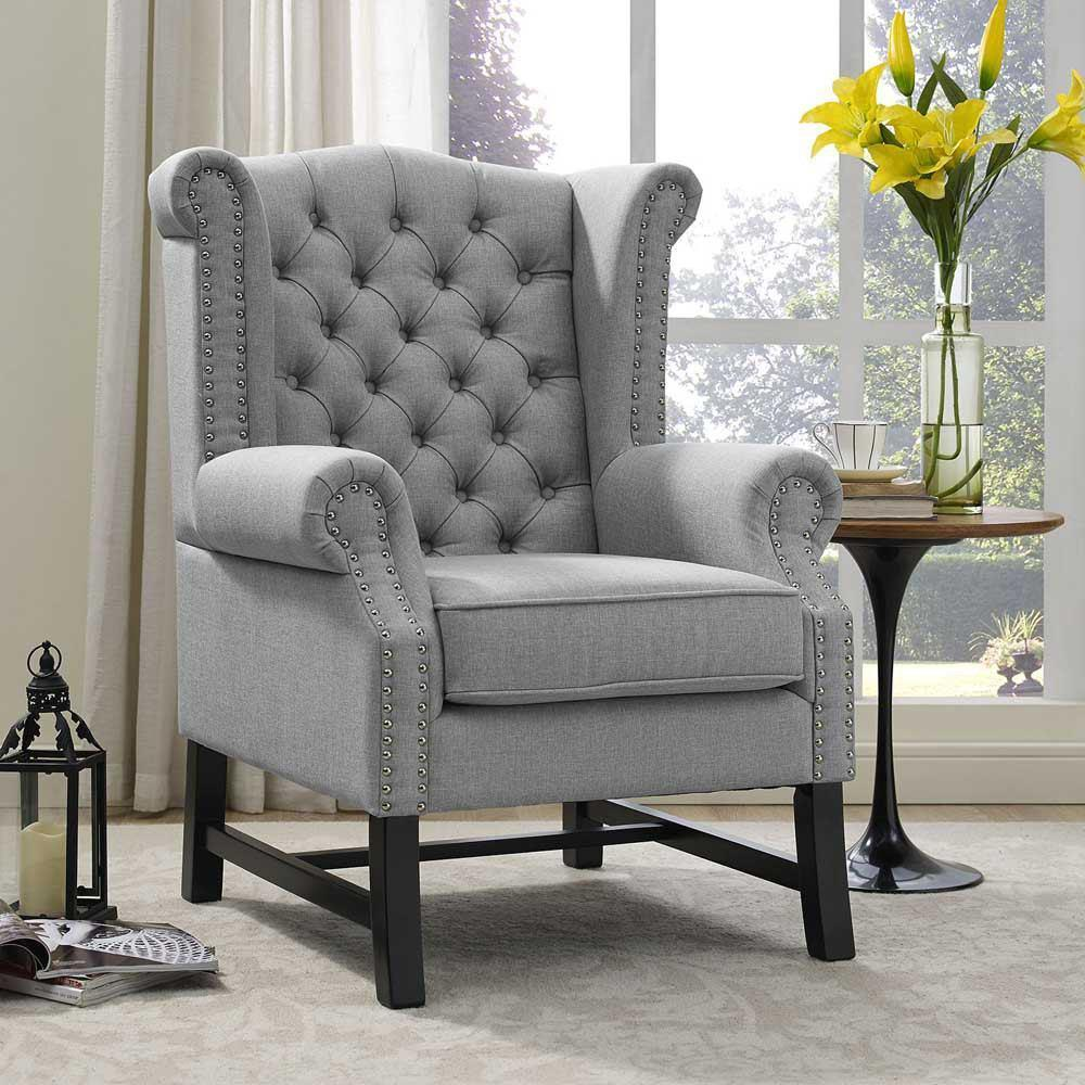 Modway Steer Upholstered Fabric Armchair - Light Gray