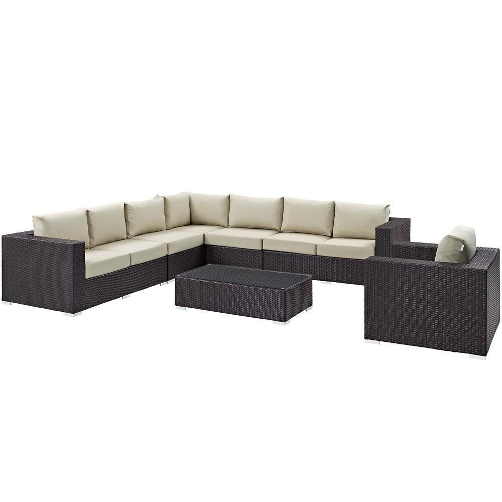 Modway Convene 7 Piece Outdoor Patio Sectional Set - Espresso Beige