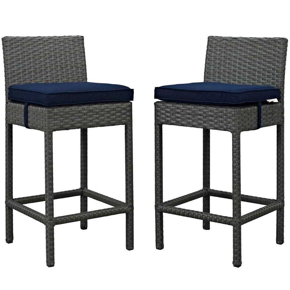 Modway Sojourn 2 Piece Outdoor Patio Sunbrella Pub Set - Canvas Navy