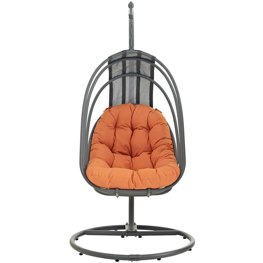 Modway Whisk Outdoor Patio Swing Chair With Stand - Orange