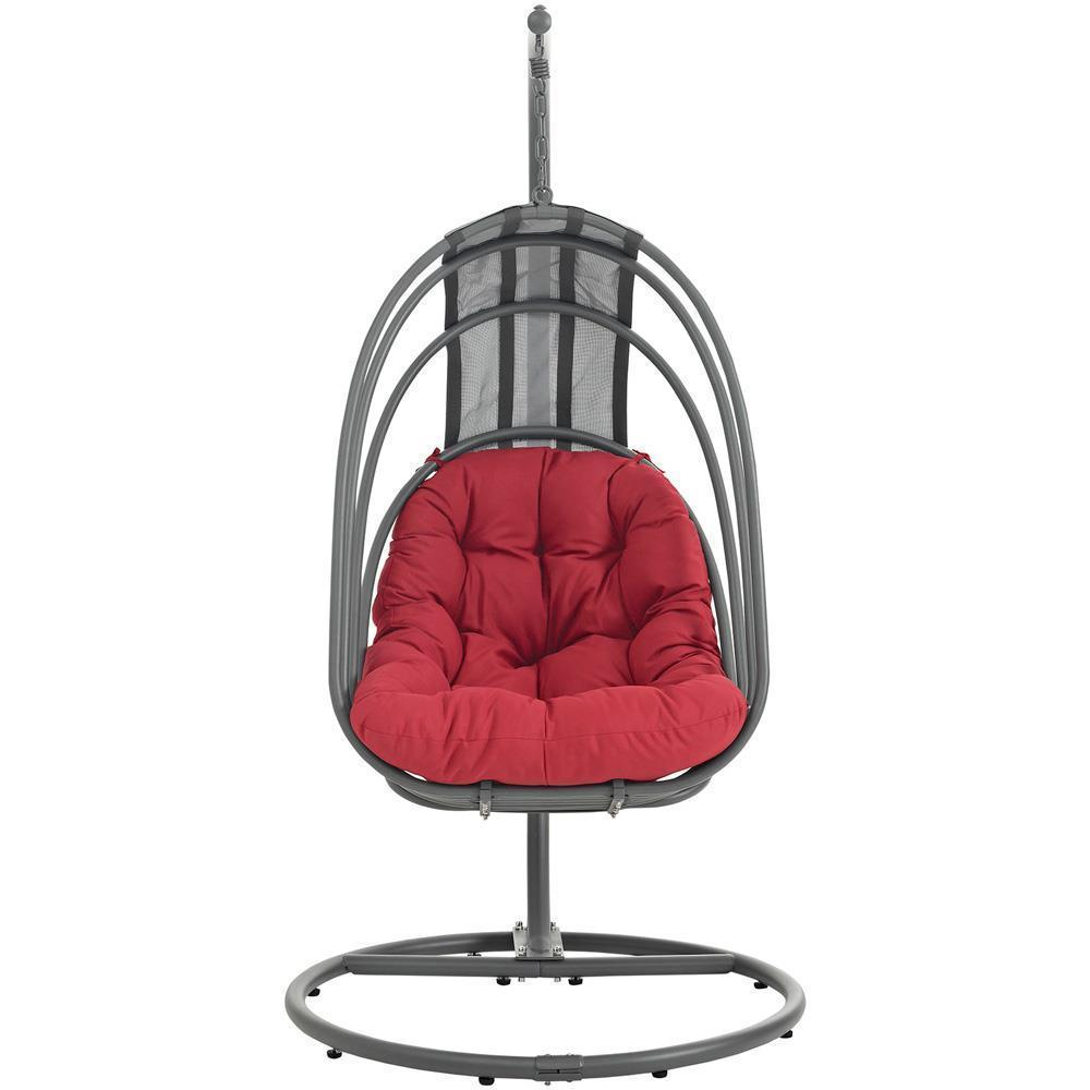 Modway Whisk Outdoor Patio Swing Chair With Stand - Red