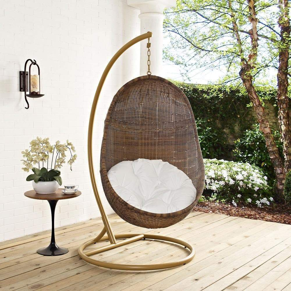 Modway Bean Outdoor Patio Wood Swing - Coffee White