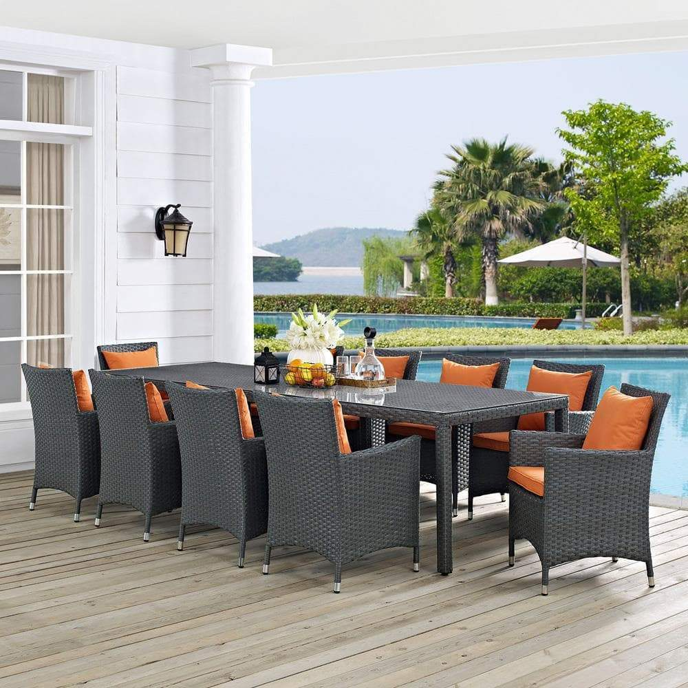 Modway Sojourn 11 Piece Outdoor Patio Sunbrella Dining Set - Canvas Tuscan