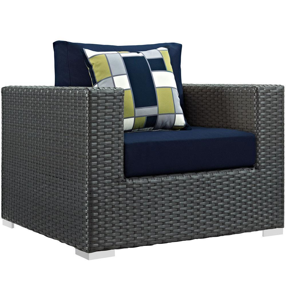 Modway Sojourn 9 Piece Outdoor Patio Sunbrella Sectional Set - Canvas Navy