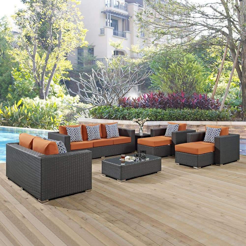 Modway Sojourn 9 Piece Outdoor Patio Sunbrella Sectional Set - Canvas Tuscan