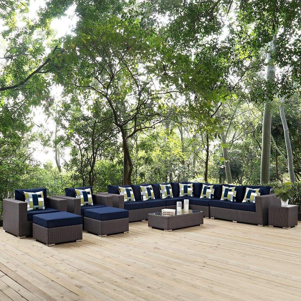 Modway Sojourn 11 Piece Outdoor Patio Sunbrella Sectional Set - Canvas Navy