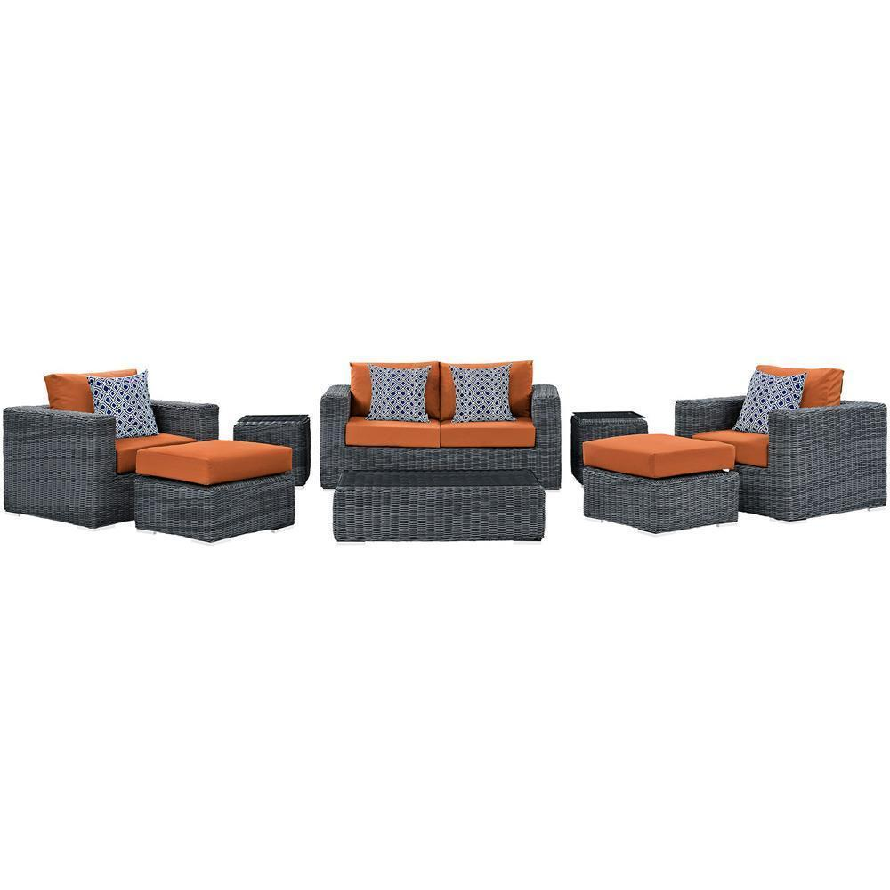 Modway Summon 8 Piece Outdoor Patio Sunbrella Sectional Set - Canvas Tuscan