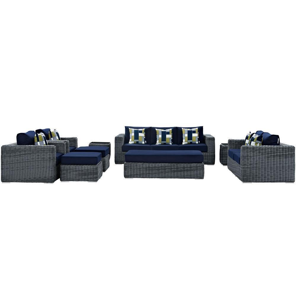 Modway Summon 9 Piece Outdoor Patio Sunbrella Sectional Set - Canvas Navy