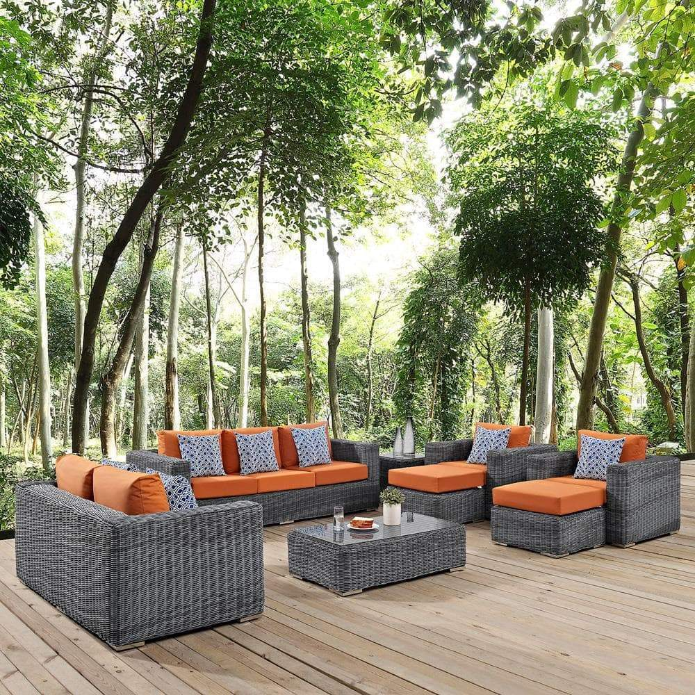 Modway Summon 9 Piece Outdoor Patio Sunbrella Sectional Set - Canvas Tuscan