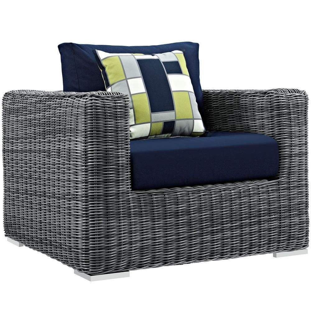 Modway Summon 7 Piece Outdoor Patio Sunbrella Sectional Set - Gray Navy