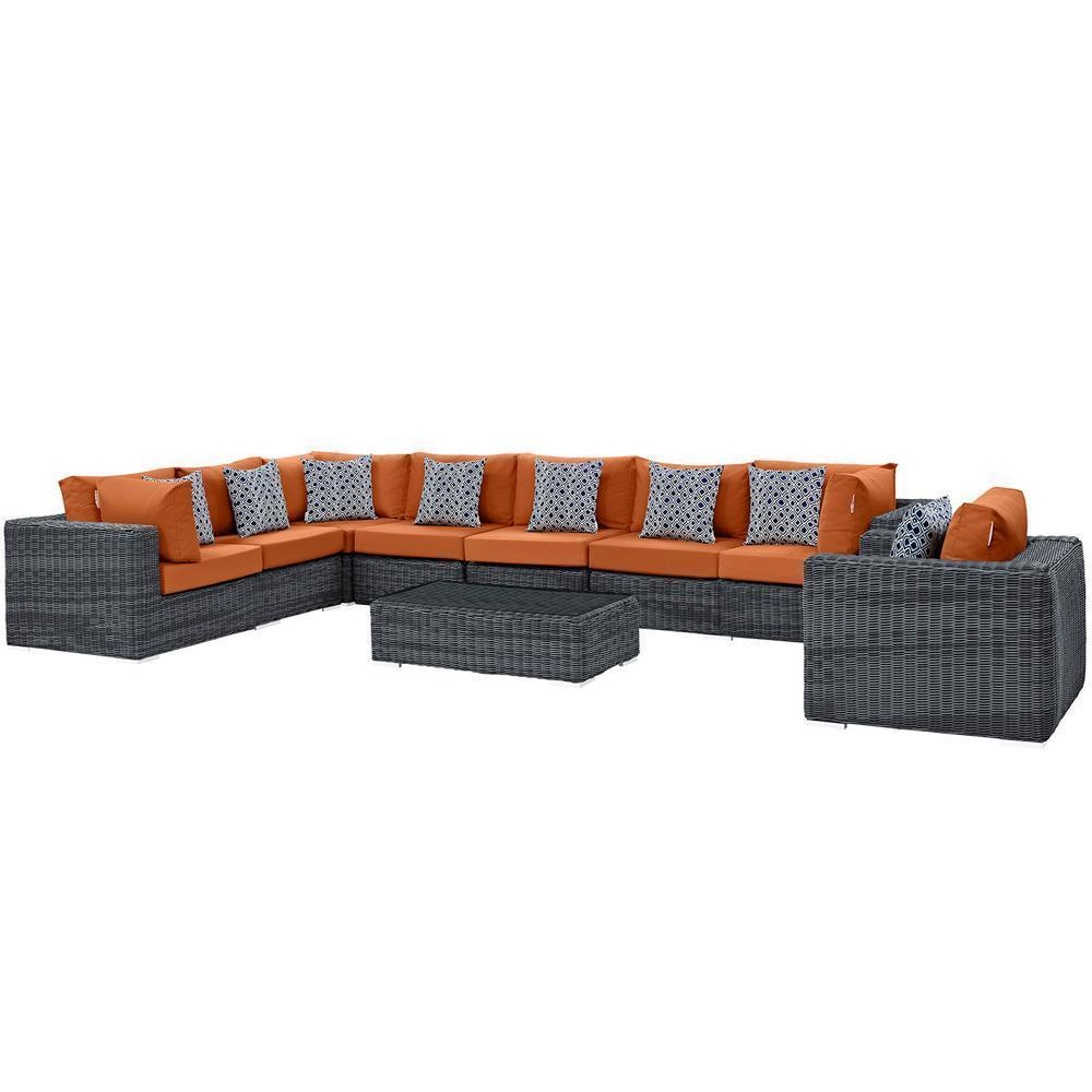 Modway Summon 7 Piece Outdoor Patio Sunbrella Sectional Set - Gray Tuscan