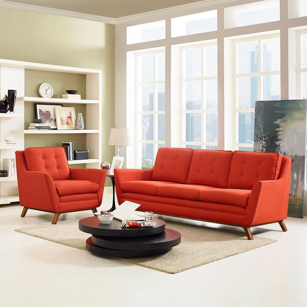 Modway Beguile Living Room Set Upholstered Fabric Set of 2 - Atomic Red