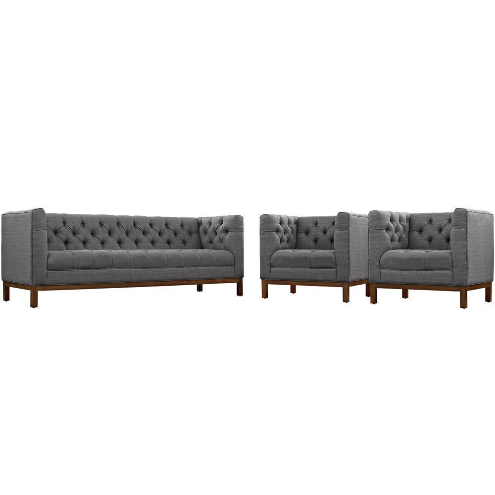 Modway Panache Living Room Set Upholstered Fabric Set of 3 - Gray
