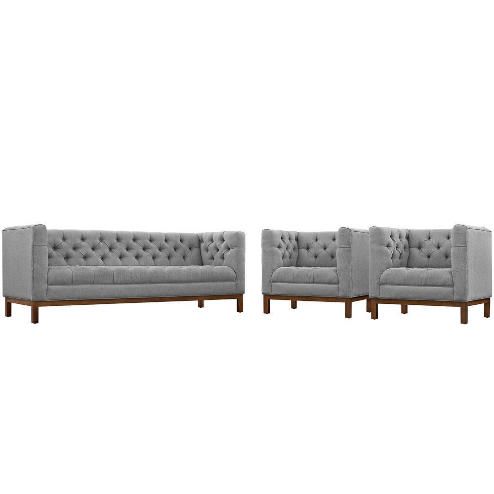 Modway Panache Living Room Set Upholstered Fabric Set of 3 - Expectation Gray