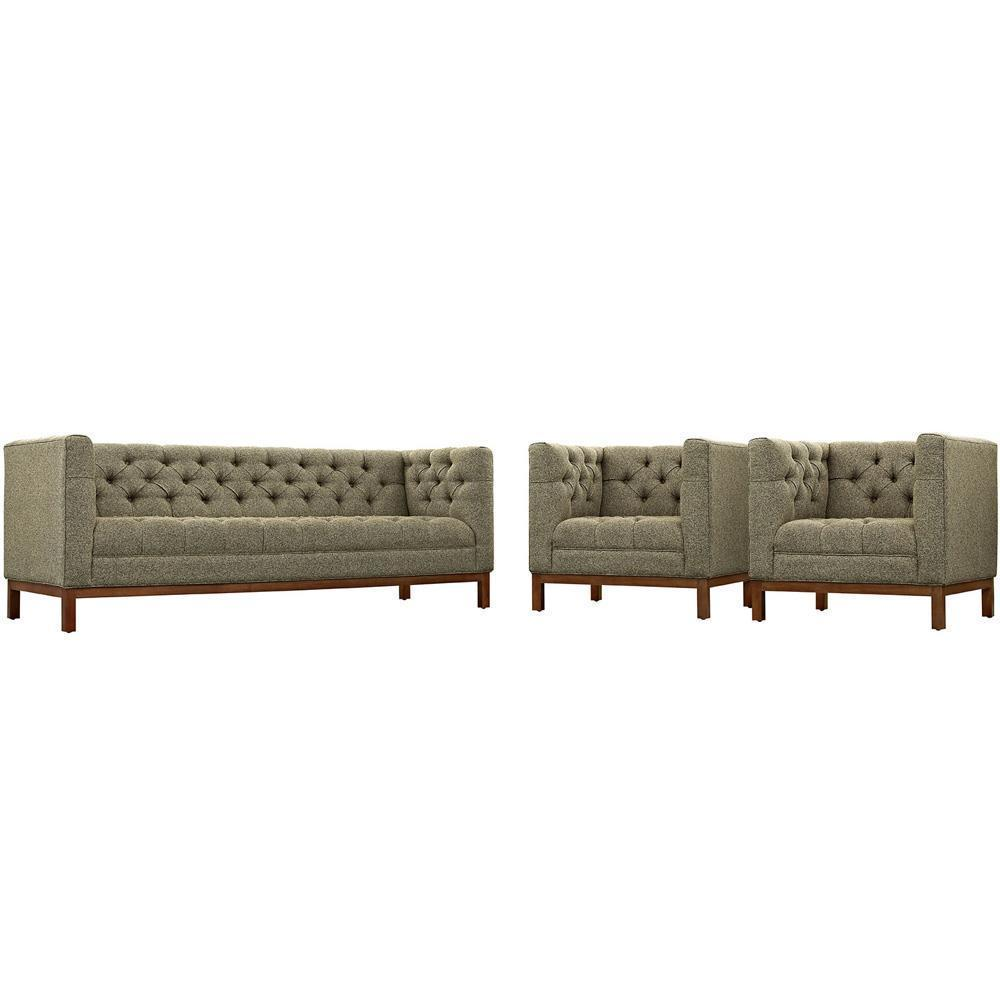 Modway Panache Living Room Set Upholstered Fabric Set of 3 - Oatmeal