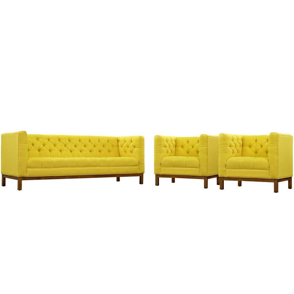 Modway Panache Living Room Set Upholstered Fabric Set of 3 - Sunny